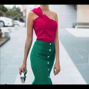 Zara pink assymetric knotted Top xl